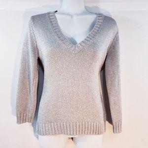 LAUREN Ralph Lauren Womens Sweater V Neck Silver M